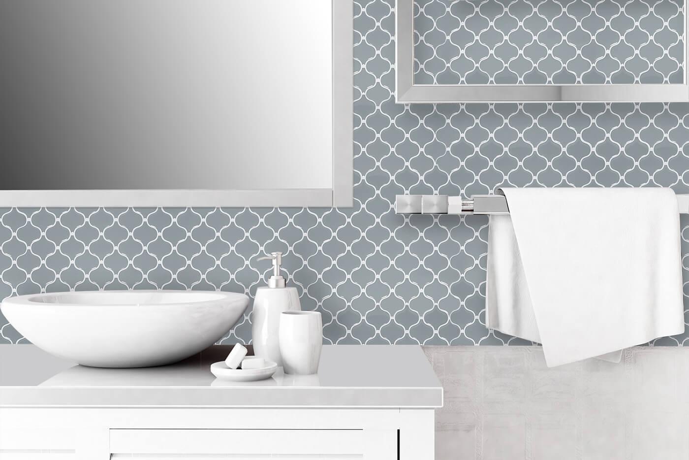 bathroom backsplash ideas with peel and stick gray lantern mosaic tiles