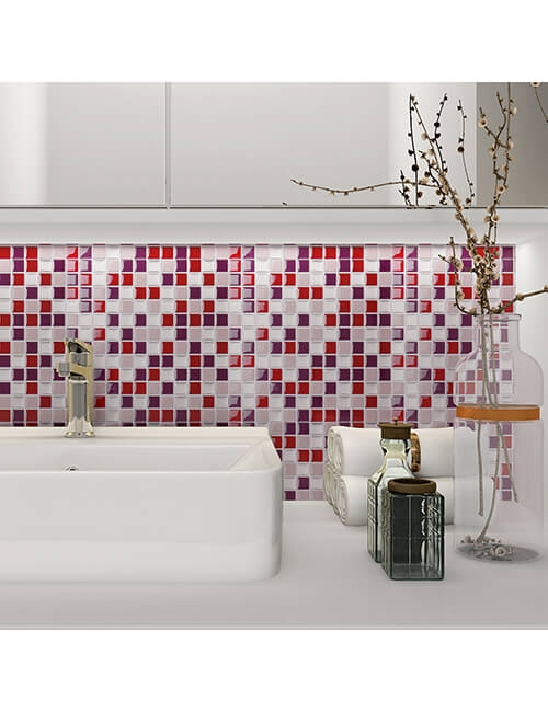 bathroom mosaic with peel and stick tile