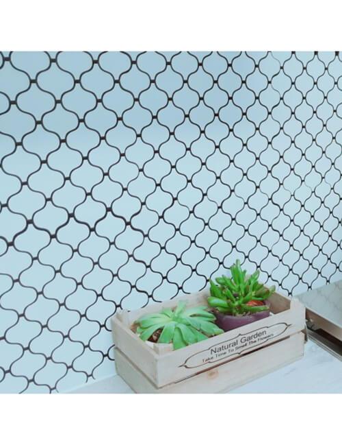 kitchen peel and stick grey tile backsplash