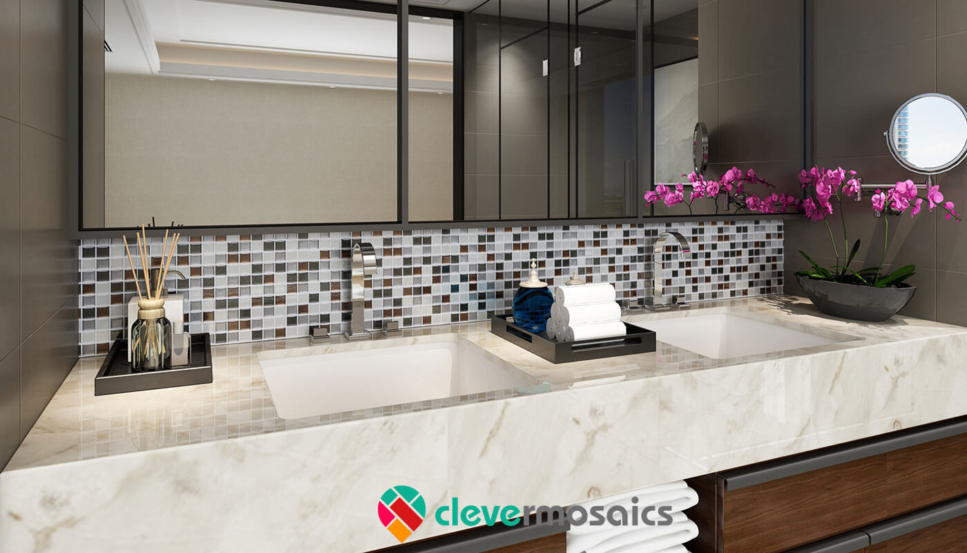 - Mosaic Tile Backsplash 3D High Gloss Waterproof Design Clever