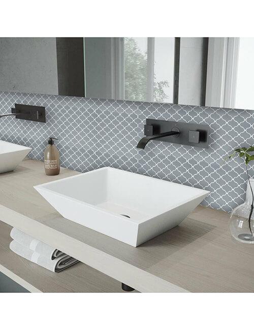 peel and stick gray arabeque tile for bathroom backsplash