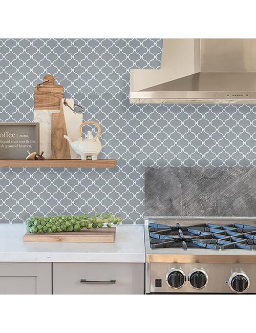 kitchen backsplash peel and stick gray arabeque mosaic tile