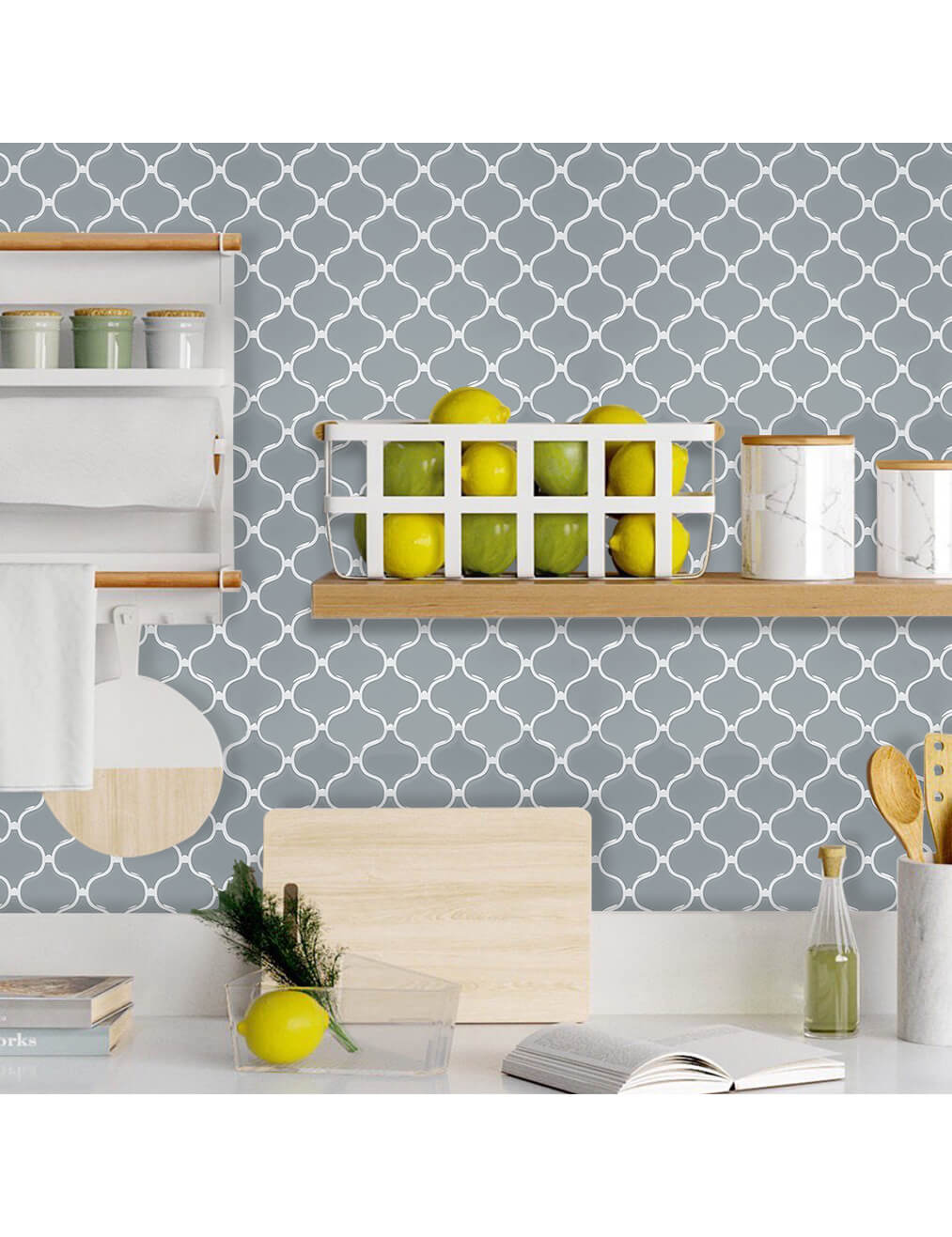 home wall covering with peel and stick gray lantern tile sticker