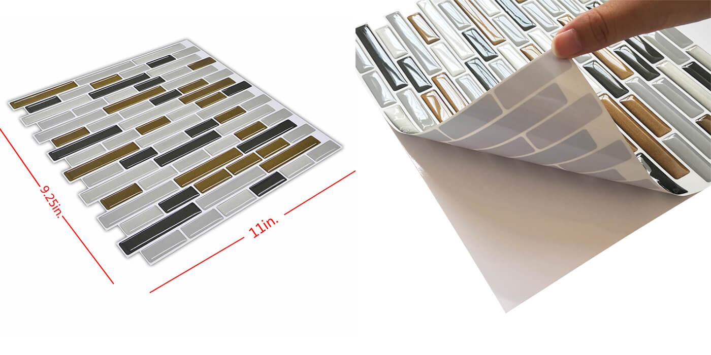 The sizes of peel and stick vinyl backsplash CM80142