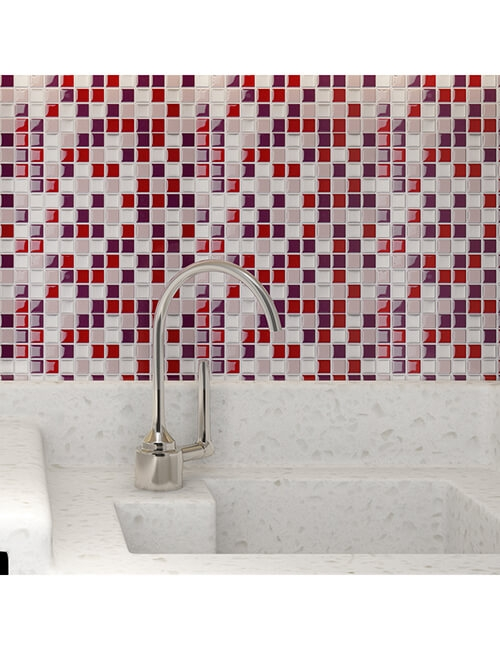 pink peel and stick tile for bathroom