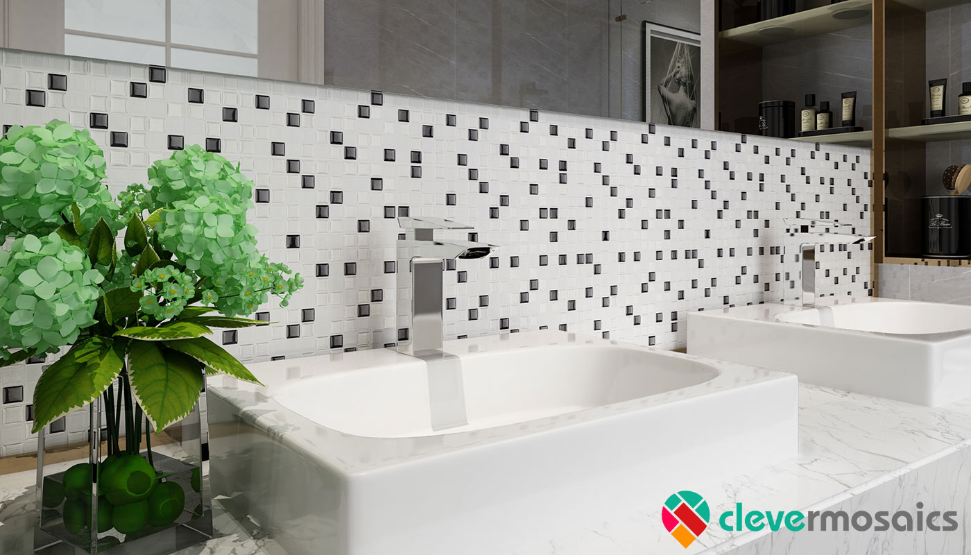 Stick On Smart Wall Tile Backsplash CM80208 | Clever Mosaics