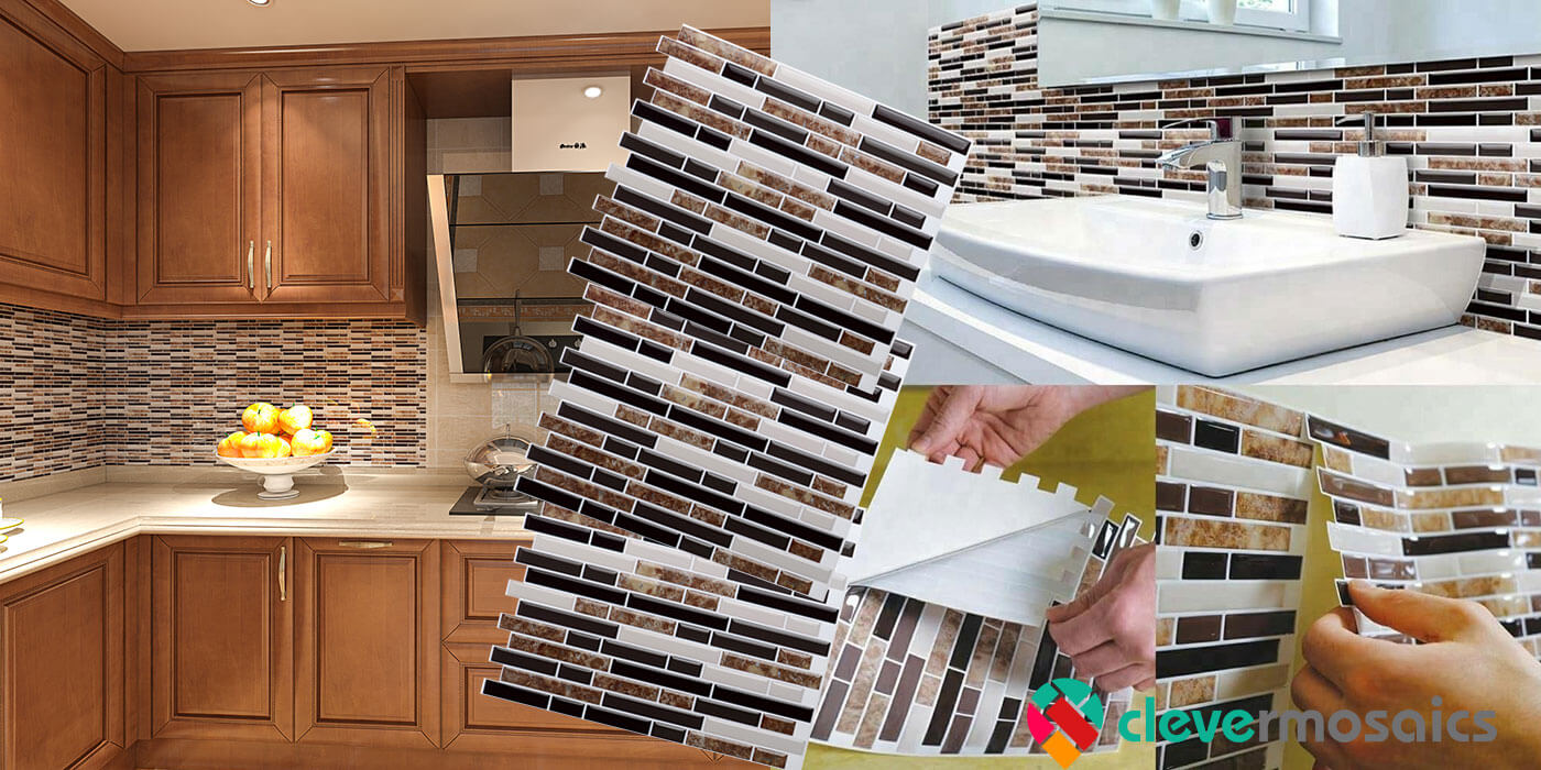 peel and stick tile backsplash from Clever Mosaics
