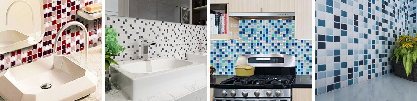 square shape mosaic tile backsplashes