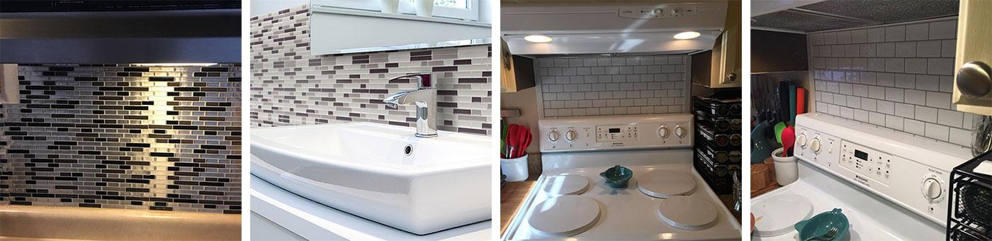 oblong strip mosaic tile backsplashes