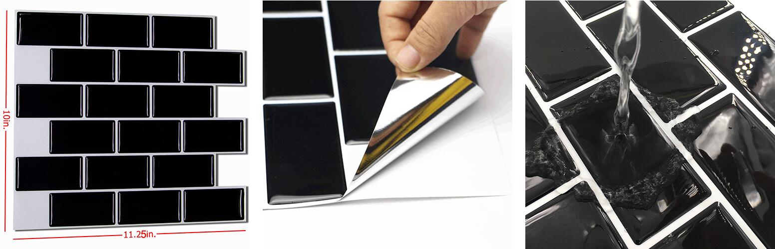 peel and stick black mosaic tile