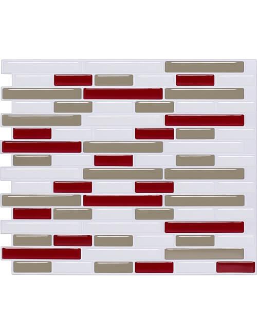 red temporary tile backsplash