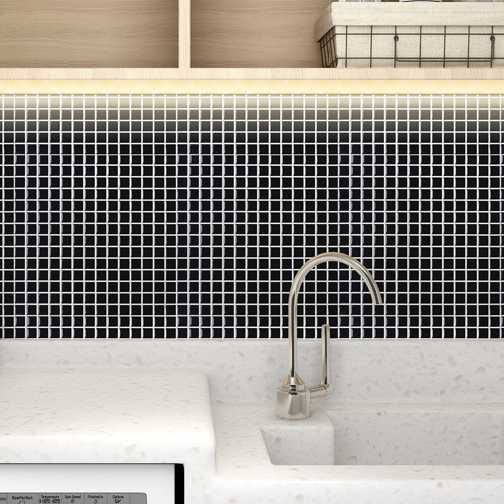 black mosaic tile backsplash for laundry room