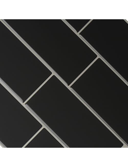 Clever Mosaics dark gray subway tile backsplash