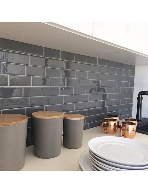 dark grey subway tile