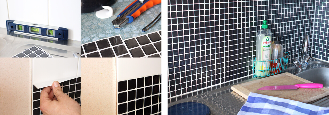 Clever Mosaics easy to install black tiles