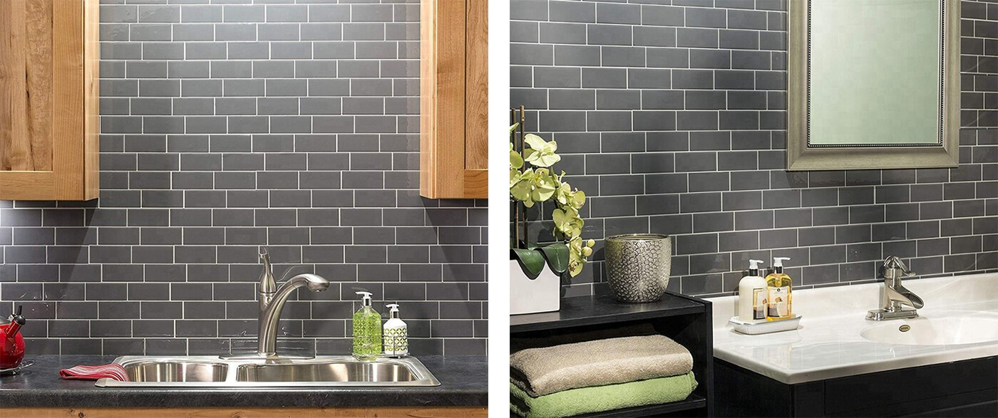 dark gray kitchen subway tile backsplash