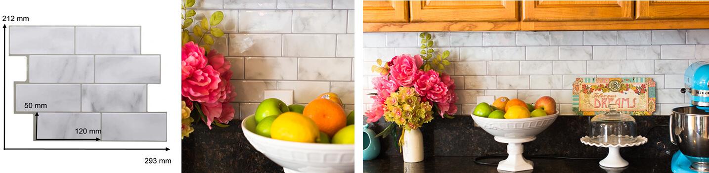 Clever Mosaics grey tile backsplash kitchen
