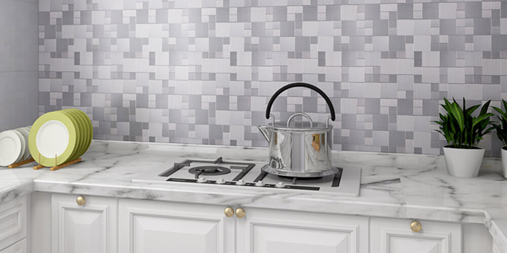 decorative metal tile backsplash