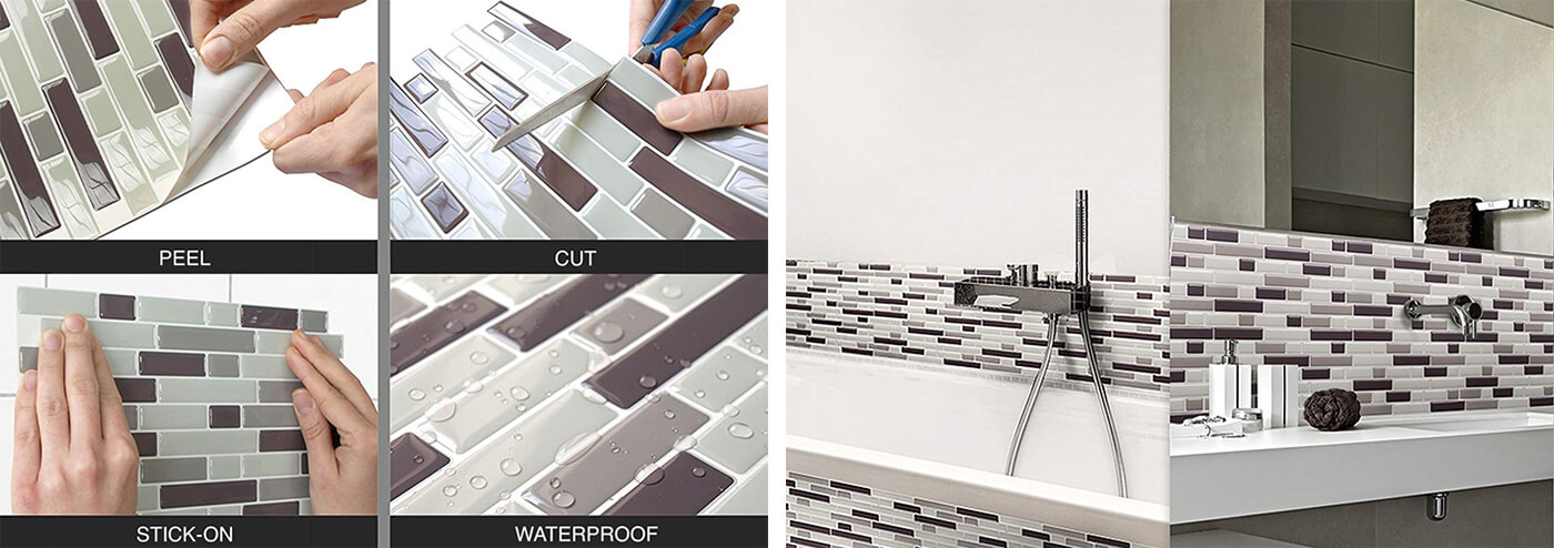Clever Mosaics peel and stick tile for bathroom remodeling