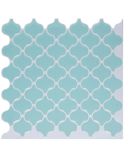 light green tile backsplash