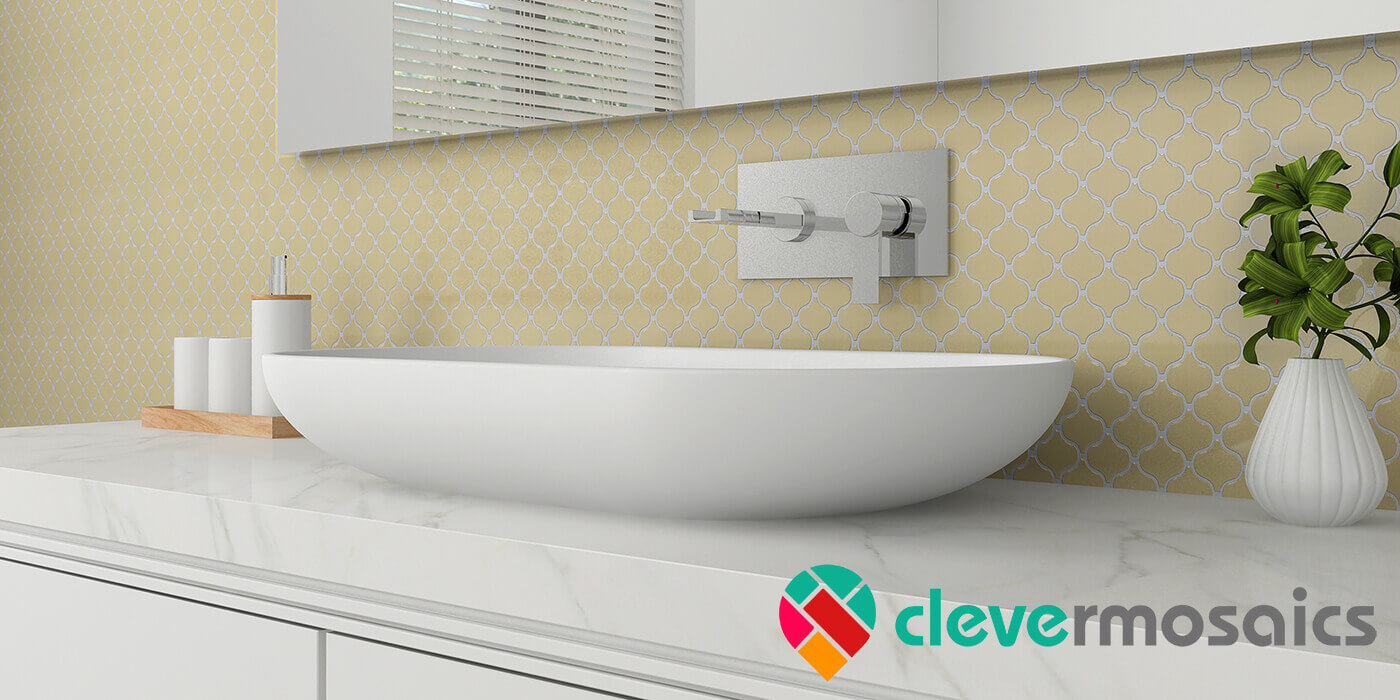 peel and stick yellow tile for bathroom