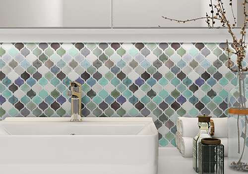 peel and stick colorful tile backsplash for bathroom