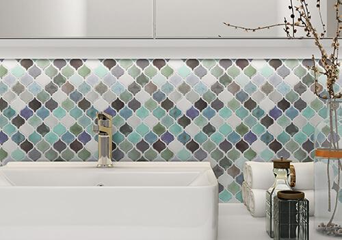 peel and stick colorful tile backsplash for bathroom