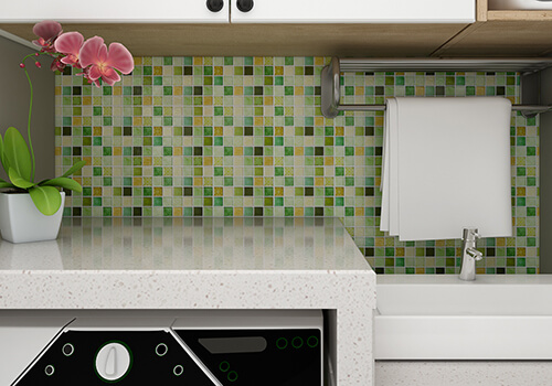 peel and stick laundry room backsplash