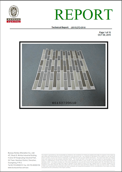 peel and impress tile technical report from BV
