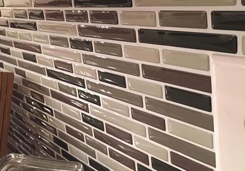 oblong skinny tile for small kitchen