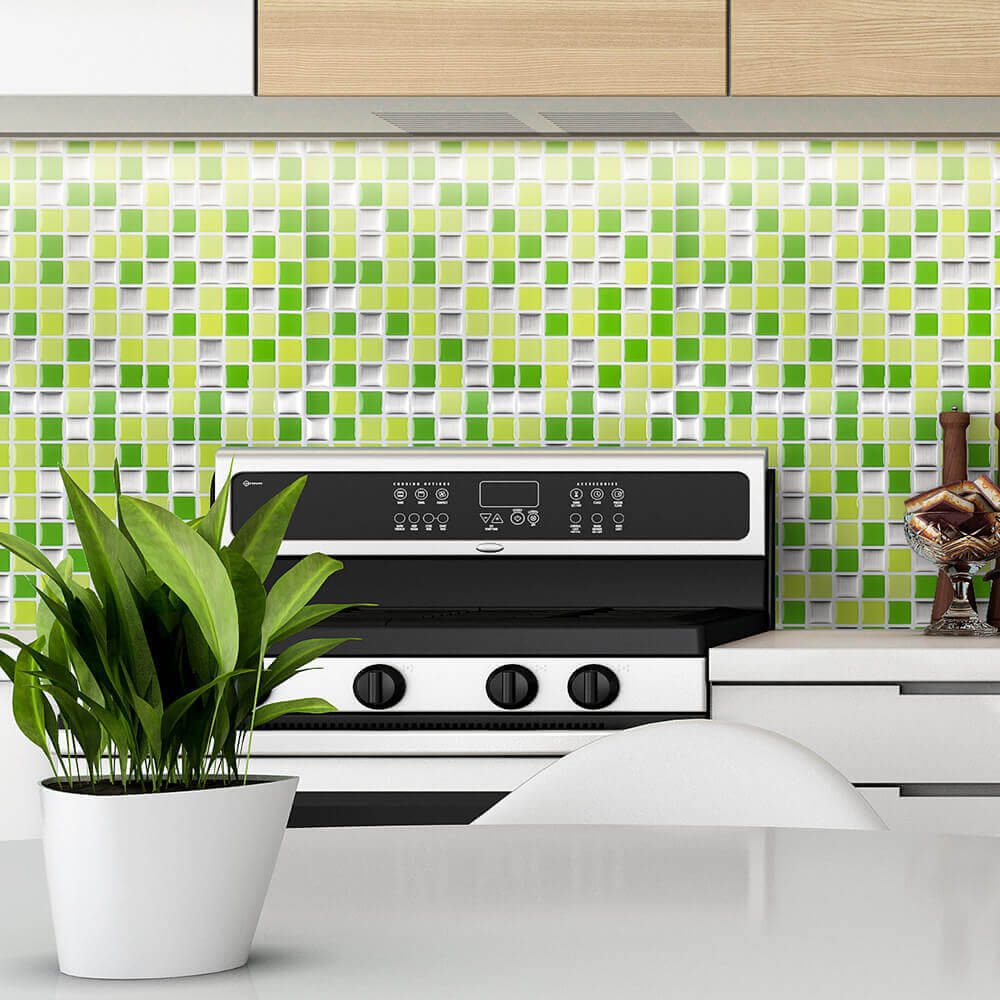 decorative square mosaic tile backsplash