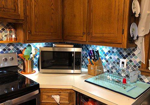 arabesque kitchen backsplash ideas with blue marble