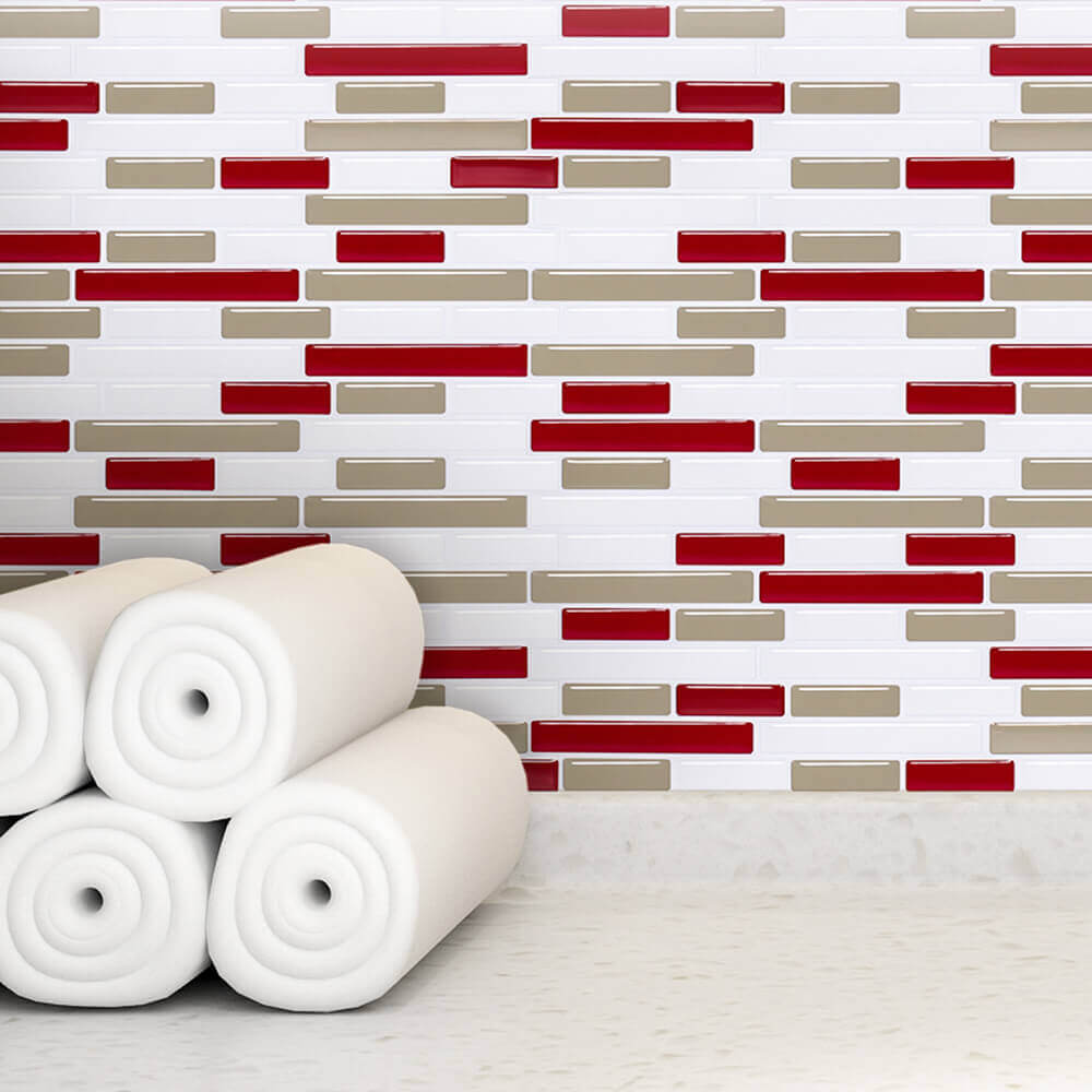 red article tile for sunny kitchen design