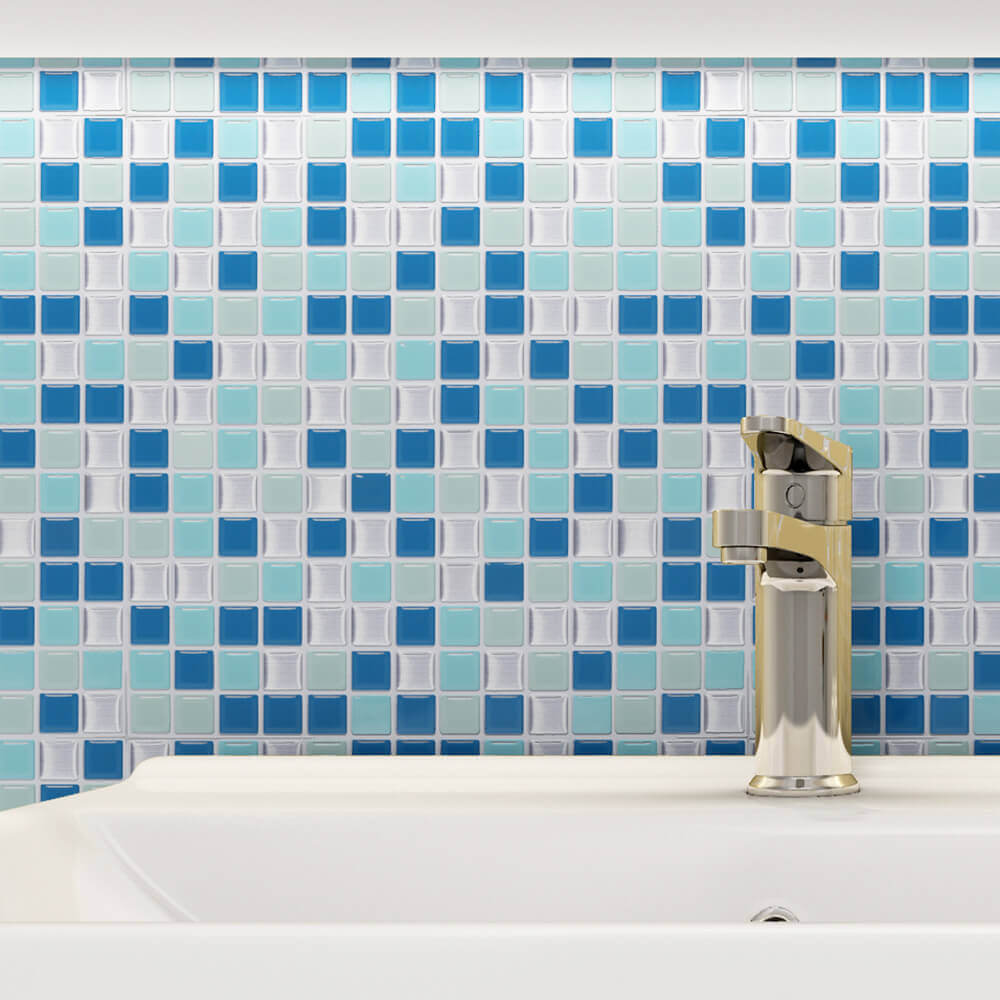 self stick blue wall tile for kitchen