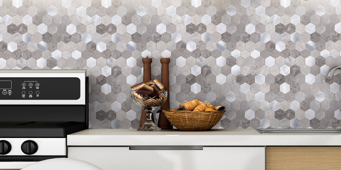 kitchen backsplash hexagon stone tile
