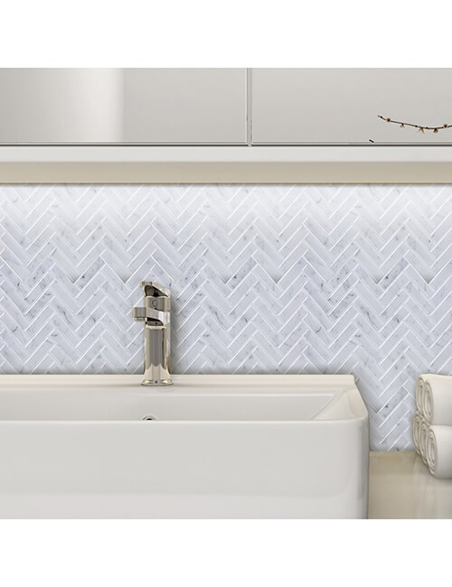herringbone tile for bathroom backsplash