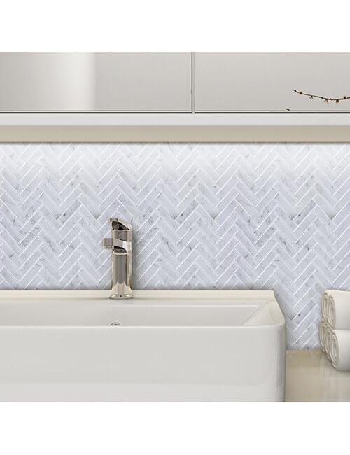 herringbone tile for bathroom backsplash