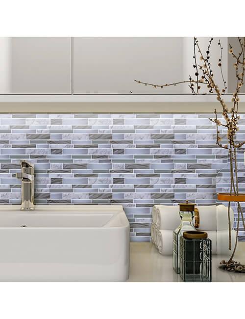 oblong grey tile bathroom