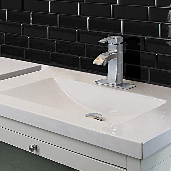 bathroom black subway backsplash idea