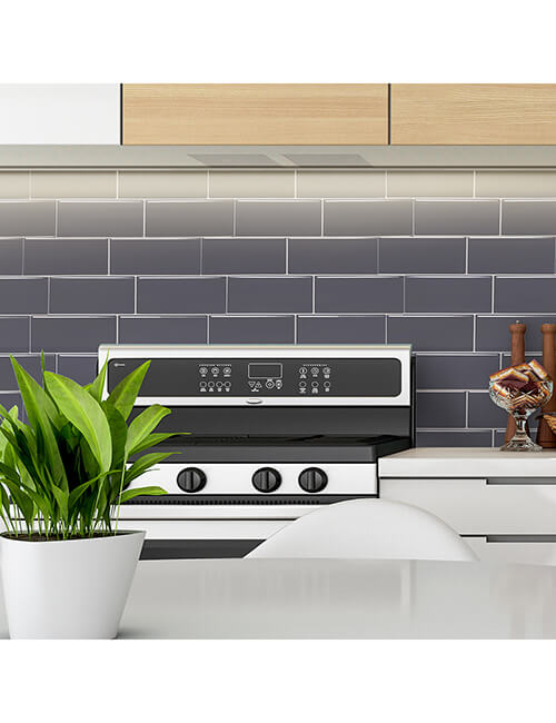 gray subway thicker tile kitchen