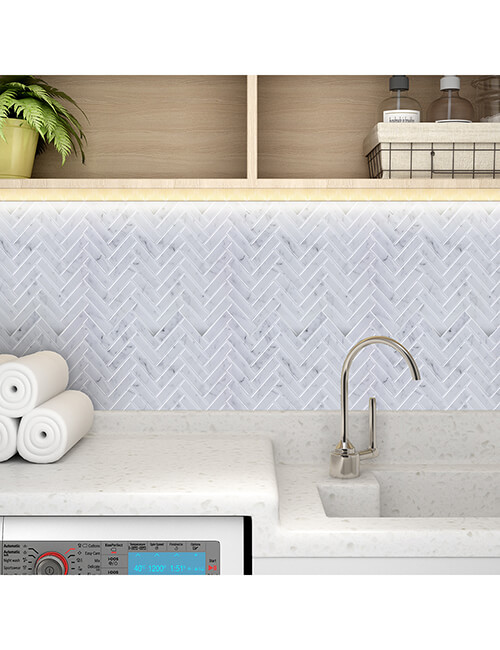 laundry room herringbone tile