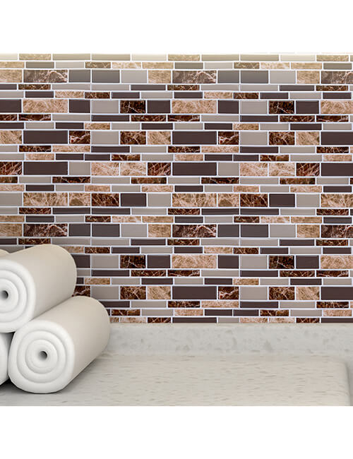 home wall covering peel and stick brown marble tile