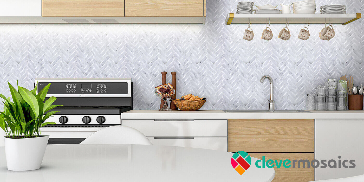 peel and stick grey herringbone tile backsplash