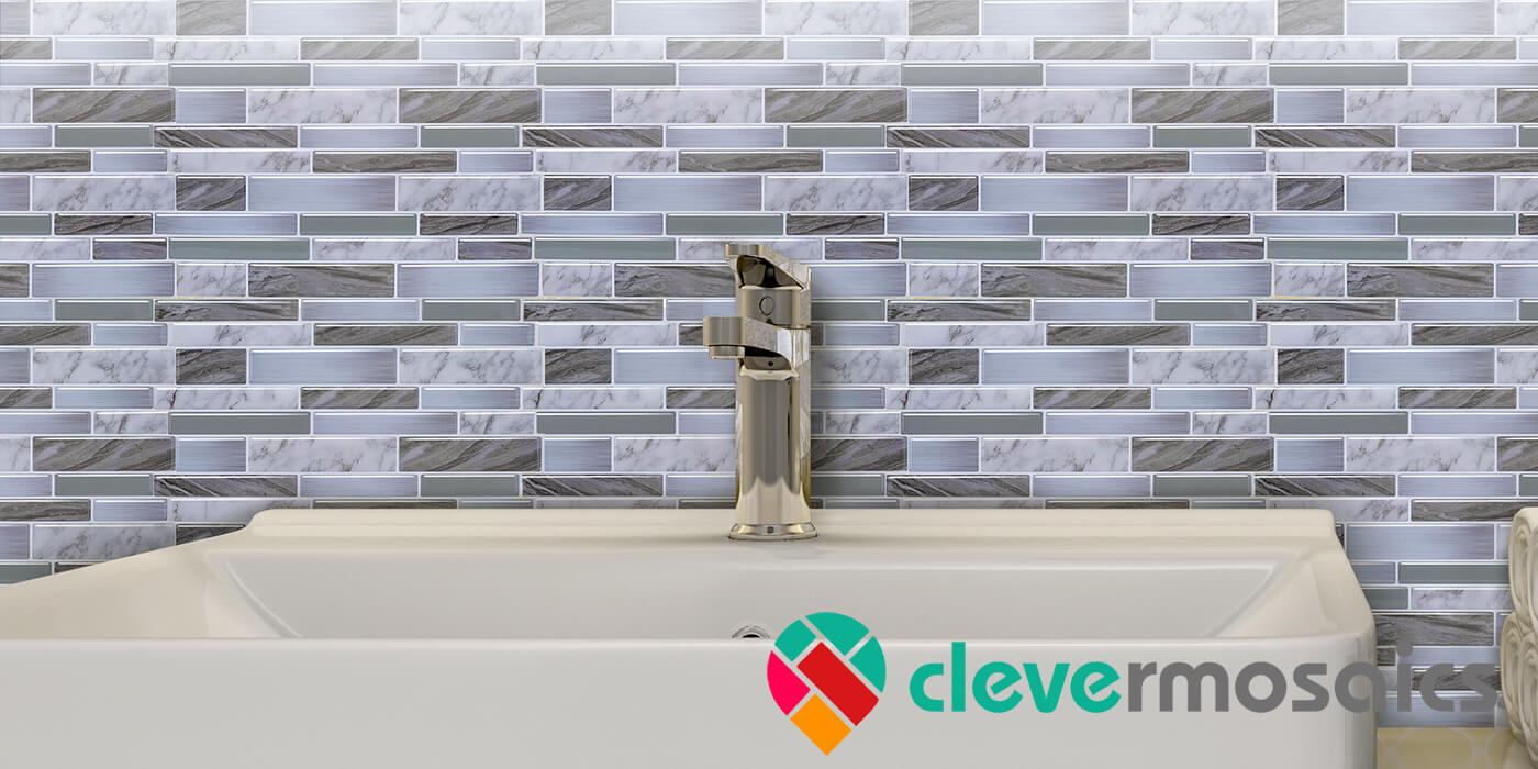 mosaic decoration oblong grey tile