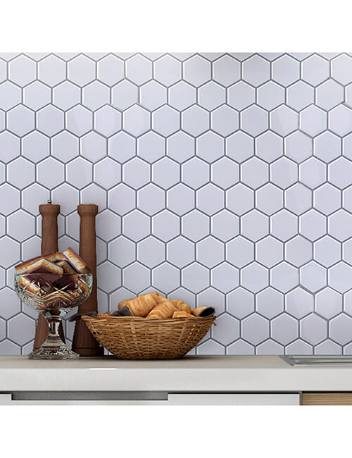 peel stick hexagon mosaic wall decoration