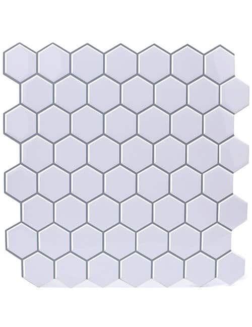 peel and stick hexagon white tile