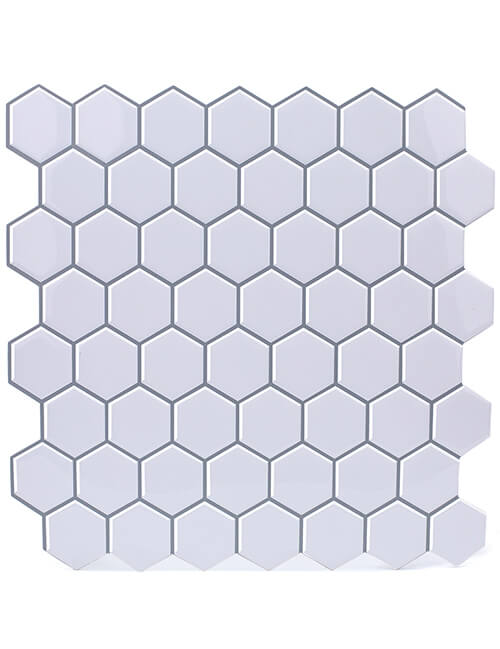 peel and stick hexagon white tile