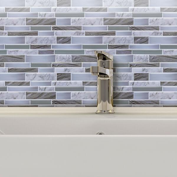 peel and stick luxury marble tile backsplash