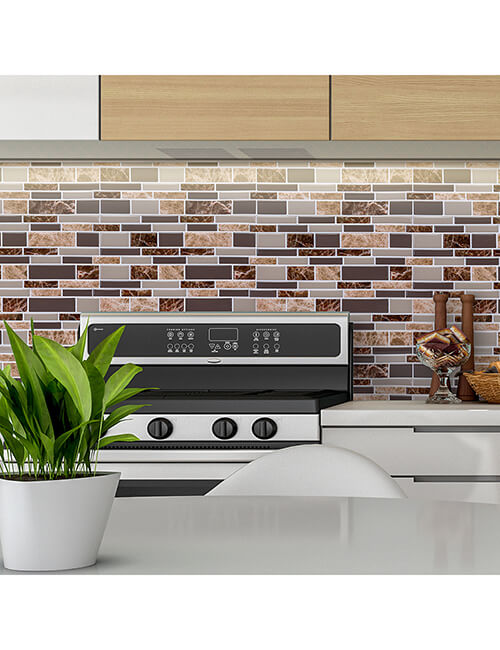 peel stick brown marble tile backsplash