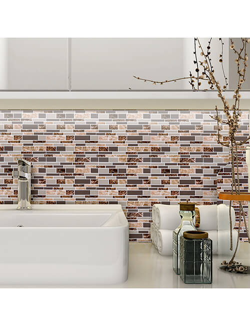 bathroom decoration peel and stick brown marble tile